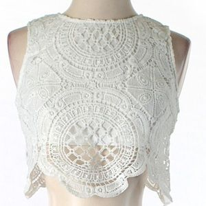 LF White Urmoda Lace Crop Top
